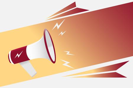 Concept d'illustration d'entreprise design plat Entreprise de marketing numérique tenant un mégaphone pour les bannières de site Web et de promotion Dessin animé main humaine tenant un mégaphone. concept de médias sociaux Banque d'images