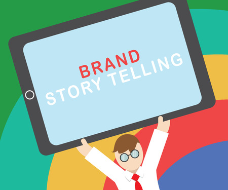 Text sign showing Brand Story Telling. Stock Photo