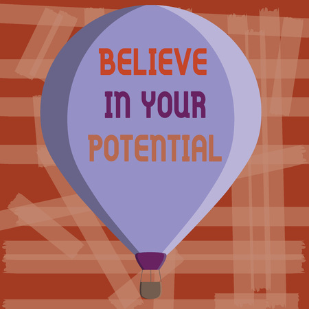 Writing note showing Believe In Your Potential.
