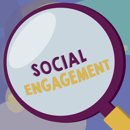 Conceptual hand writing showing Social Engagement. Business photo text Degree of engagement in an online community or society. Imagens - 111469635