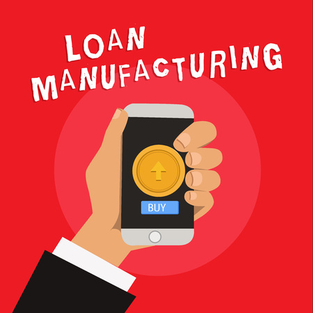 Writing note showing Loan Manufacturing. Business photo showcasing Bank Process to check Eligibility of the Borrower.