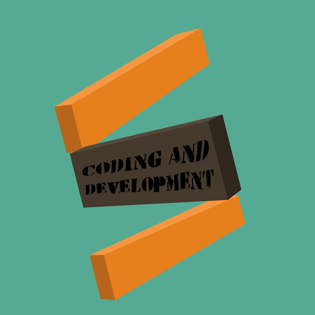 Conceptual hand writing showing Coding And Development. Business photo showcasing Programming Building simple assembly Programs.