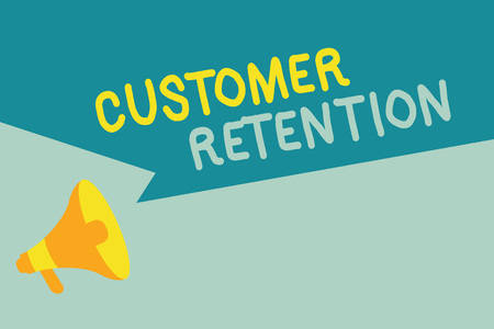 Handwriting text writing Customer Retention. Concept meaning Keeping loyal customers Retain many as possible.