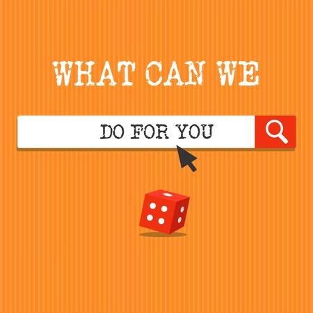 Escritura de texto escrito, ¿qué podemos hacer por usted? Concepto Significado que estamos a su servicio dispuestos a ayudar a hacer un favor o.