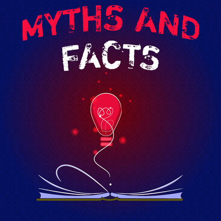 Writing note showing Myths And Facts. Business photo showcasing Oppositive concept about modern and ancient period. Stock fotó