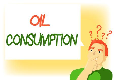 Writing note showing Oil Consumption. Business photo showcasing This entry is the total oil consumed in barrels per day.