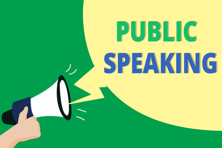 Word writing text Public Speaking. Business concept for talking people stage in subject Conference Presentation. 免版税图像