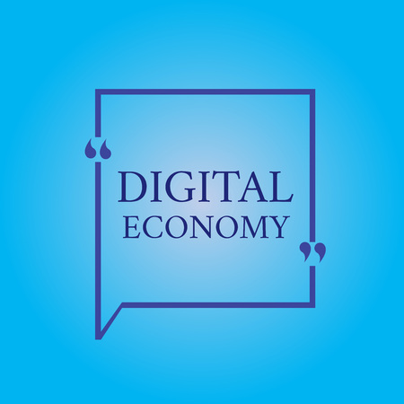 Writing note showing Digital Economy. Business photo showcasing worldwide network of economic activities and technologies. Imagens
