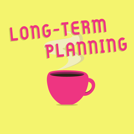 Text sign showing Long Term Planning. Conceptual photo Establish Expected Goals five or more years ahead. 版權商用圖片