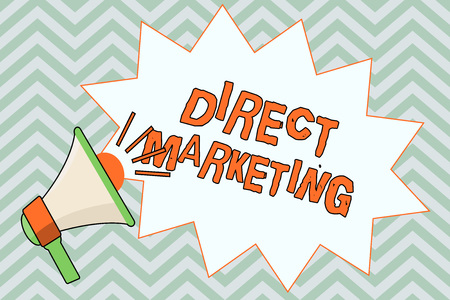 Writing note showing Direct Marketing. Business photo showcasing business of selling products or services to public.