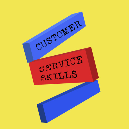 Word writing text Customer Service Skills. Business concept for Aptitude to master to improve dealings with client.