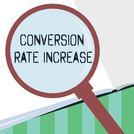 Word writing text Conversion Rate Increase. Business concept for Ratio of Total Visitors who perform desired actions. 스톡 콘텐츠