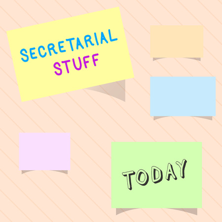 Word writing text Secretarial Stuff. Business concept for Secretary belongings Things owned by personal assistant. Stock Photo