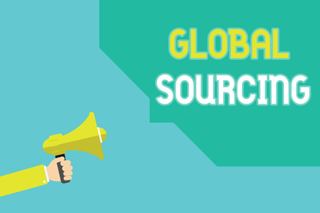Writing note showing Global Sourcing. Business photo showcasing practice of sourcing from the global market for goods. Reklamní fotografie