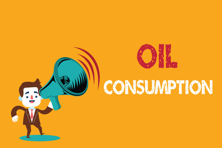 Text sign showing Oil Consumption. Conceptual photo This entry is the total oil consumed in barrels per day.