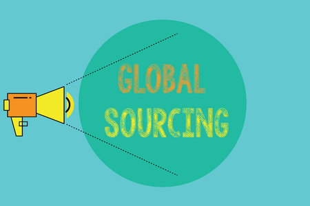 Conceptual hand writing showing Global Sourcing. Business photo showcasing practice of sourcing from the global market for goods.