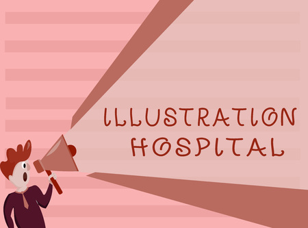 Conceptual hand writing showing Illustration Hospital. Business photo showcasing unique Applied Art of Medical Institution and Practice. Banco de Imagens
