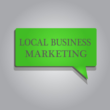 Writing note showing Local Business Marketing. Business photo showcasing Localized specification on Store characteristic . Stock Photo