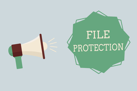 Word writing text File Protection. Business concept for Preventing accidental erasing of data using storage medium.