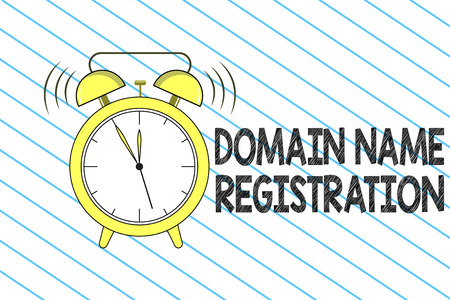 Writing note showing Domain Name Registration. Business photo showcasing Own an IP Address Identify a particular Webpage .