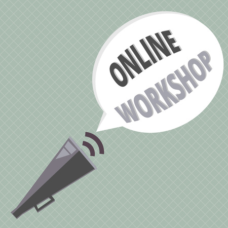 Handwriting text writing Online Workshop. Concept meaning shows of goods and commodities over the electronic websites.