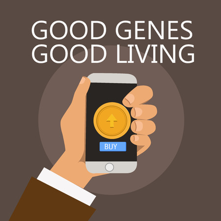 Conceptual hand writing showing Good Genes Good Living. Business photo showcasing Inherited Genetic results in Longevity Healthy Life.