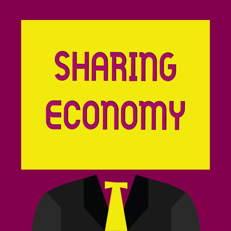 Conceptual hand writing showing Sharing Economy. Business photo text economic model based on providing access to goods .