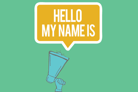 Writing note showing  Hello My Name Is. Business photo showcasing introducing yourself to new people workers as Presentation. Stok Fotoğraf