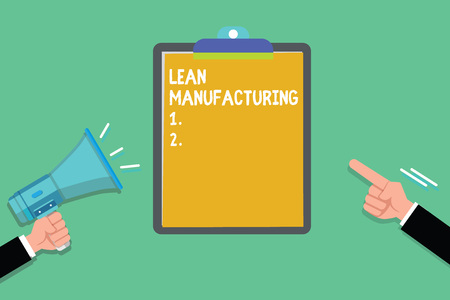 Writing note showing Lean Manufacturing. Business photo showcasing Waste Minimization without sacrificing productivity. Stock Photo