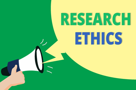 Word writing text Research Ethics. Business concept for interested in the analysis of ethical issues that raised .