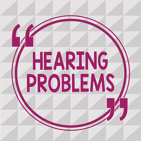 Writing note showing  Hearing Problems. Business photo showcasing is partial or total inability to listen to sounds normally. Imagens