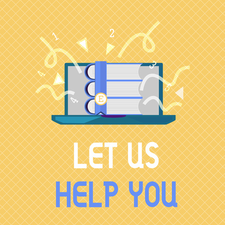Word writing text Let Us Help You. Business concept for Offering a service to someone to help him in his necessity. Stock Photo