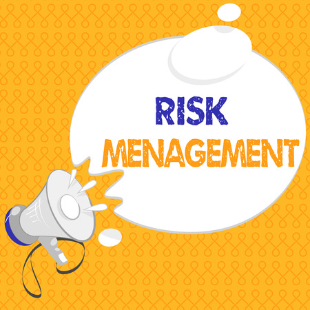 Handwriting text Risk Management. Concept meaning evaluation of financial hazards or problems with procedures.