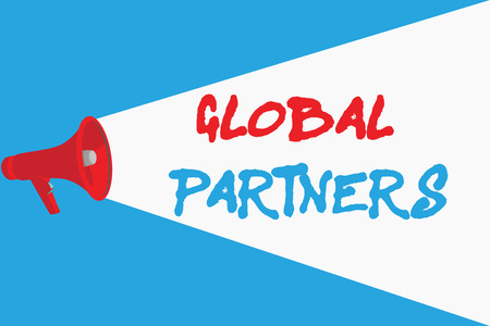 Word writing text Global Partners. Business concept for Two or more firms from different countries work as a team.