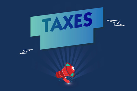 Handwriting text Taxes. Concept meaning contribution to state revenue levied by government on workers income. Stock Photo