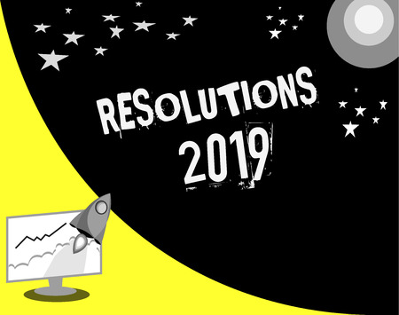 Word writing text Resolutions 2019. Business concept for list of things wishes to be fully done in next year.