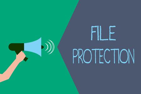 Writing note showing File Protection. Business photo showcasing Preventing accidental erasing of data using storage medium. Standard-Bild