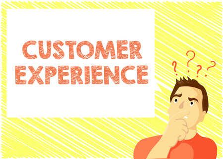 Word writing text Customer Experience. Business concept for Interaction between Satisfied Customer and Organization.