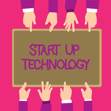 Text sign showing Start Up Technology. Conceptual photo Young Technical Company initially Funded or Financed. 스톡 콘텐츠