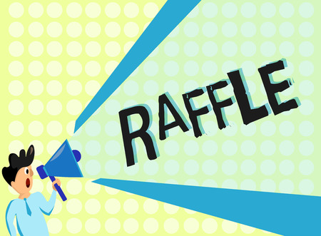 Handwriting text Raffle. Concept meaning means of raising money by selling numbered tickets offer as prize. Foto de archivo - 111595655