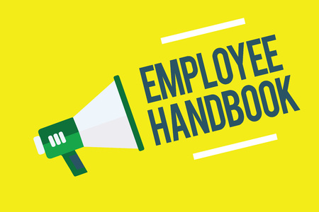 Writing note showing Employee Handbook. Business photo showcasing Document that contains an operating procedures of company Megaphone yellow background important message speaking loud