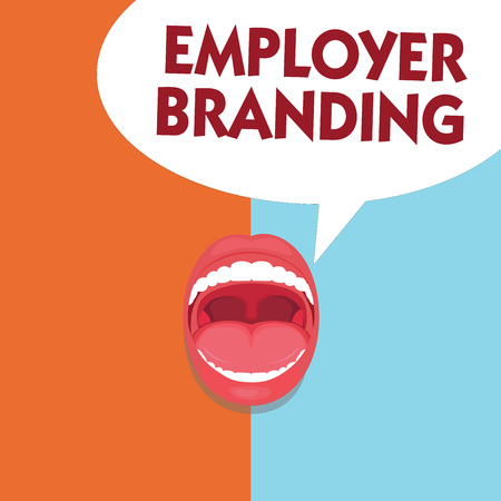 Writing note showing Employer Branding. Business photo showcasing Process of promoting a company Building Reputation. Banque d'images