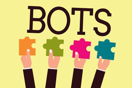 Writing note showing Bots. Business photo showcasing Automated program that runs over the Internet Artificial intelligence.