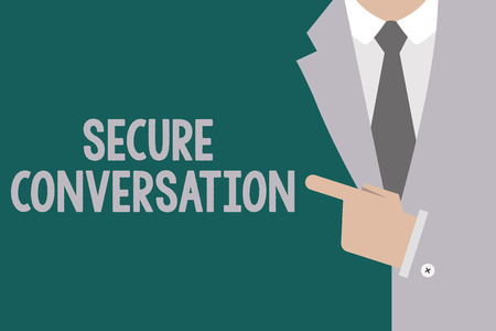 Conceptual hand writing showing Secure Conversation. Business photo text Secured Encrypted Communication between Web Services. Archivio Fotografico - 111610839