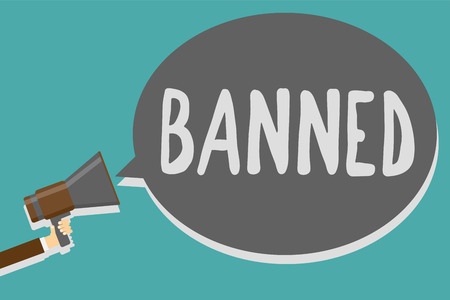 Conceptual hand writing showing Banned. Business photo text Officially prevent someone from doing something legally prohibit Man holding megaphone loudspeaker speech bubble message speaking Reklamní fotografie