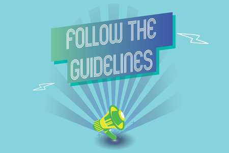 Writing note showing Follow The Guidelines. Business photo showcasing Manual of Style Follow a Specified Rule Accordingly. Stok Fotoğraf