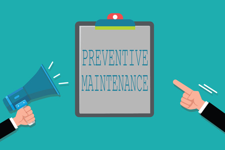 Word writing text Preventive Maintenance. Business concept for Avoid Breakdown done while machine still working.