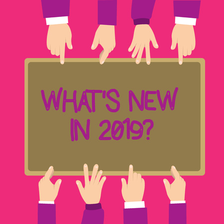Text sign showing What s is New In 2019 question. Conceptual photo Expectation and Surprises for the coming Year. Foto de archivo