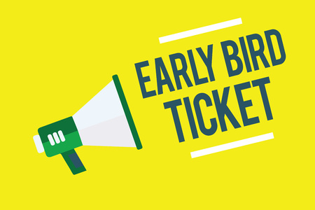 Writing note showing Early Bird Ticket. Business photo showcasing Buying a ticket before it go out for sale in regular price Megaphone yellow background important message speaking loud