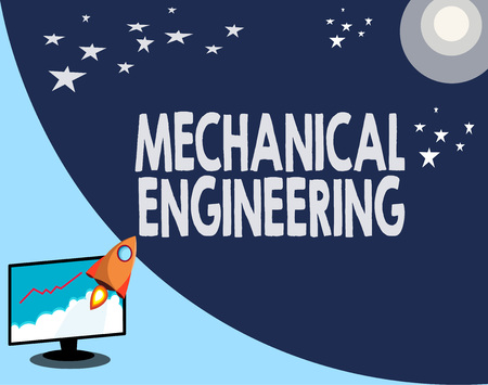 Writing note showing Mechanical Engineering. Business photo showcasing deals with Design Manufacture Use of Machines.